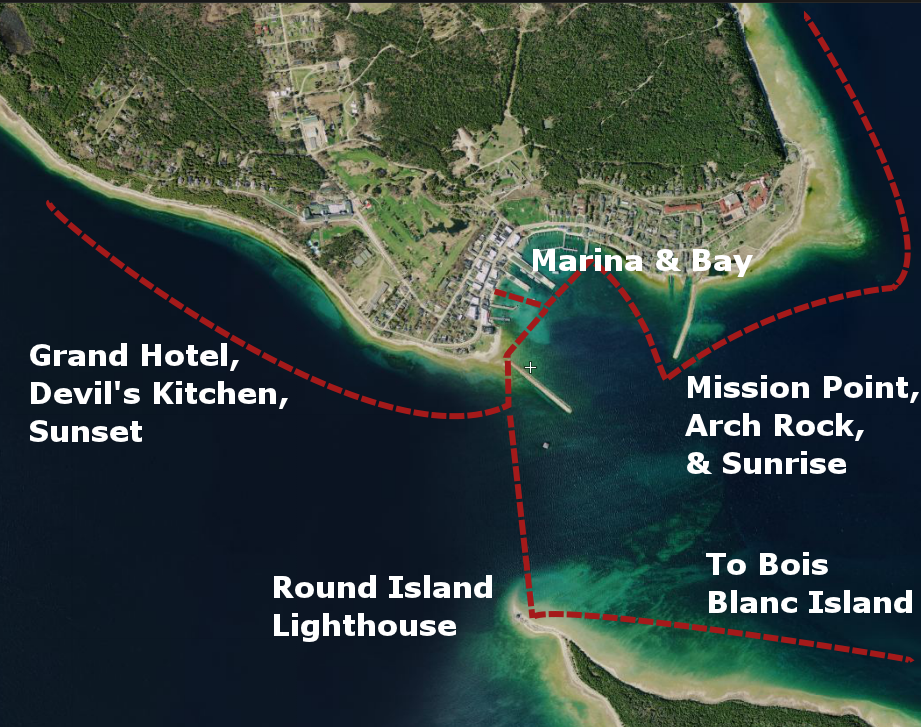 Great Turtle Kayak Tours' Routes around the Straits of Mackinac